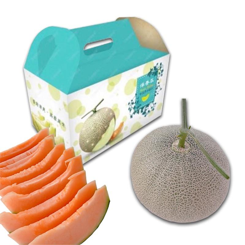 【豐圓哈密瓜】紅櫻網紋洋香瓜(2顆禮盒裝)