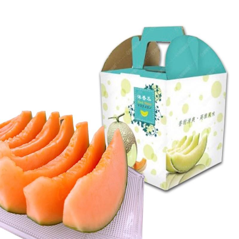 豐圓哈密瓜:紅櫻網紋洋香瓜(1顆禮盒裝)