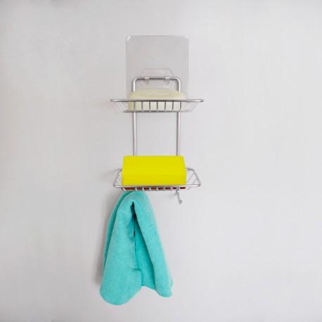 304不鏽鋼肥皂架雙:免鑽牆、免組裝、不傷牆面